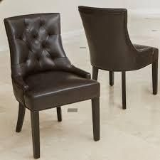 Hayden Contemporary Tufted Bonded leather Dining Chairs  Set of 2  by Christopher Knight Home  Retail 213 49