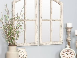 Jolene Arch Window Pane Mirrors Off White 27  x 15   Set of 2  by Aspire