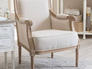 Chavanon Wood   Cotton Traditional French Accent Chair  Retail 388 49