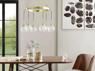 Clive 6 light Gold Wagen Wheel Chandelier by INK IVY  Retail 158 99