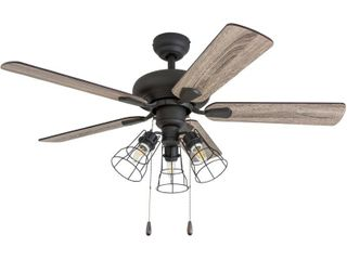 Prominence Home 50588 35 Madison County Industrial 42 Inch Aged Bronze Indoor Ceiling Fan  Cage lED Cage Barnwood Tumbleweed Blades