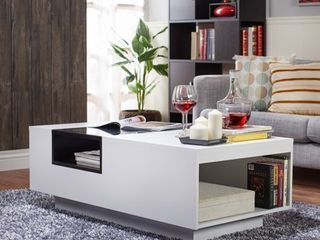 Furniture of America Zace Contemporary White Glass Top Coffee Table  Retail 283 49