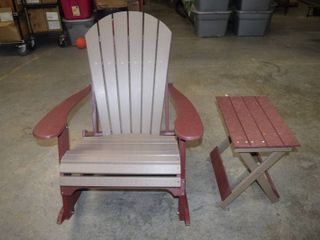 Amish Made Polywood Adirondack Rocking Chair with Matching Side Table