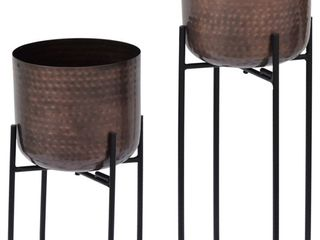 Crestview Collection Evolution 2 Piece Bronze Planter Set 8 5  x 8 5  x 16