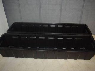 2 Black Plastic Flower Box Planters 30  x 8  x 5
