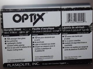 Optrix Plexi Glass Sheet 48  x 96