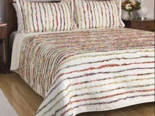 Greenland Home Fashions Bella Ruffled Floral Cotton Quilt Twin Set  Retail 99 98