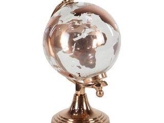 Modern 11 x 6 Inch Copper Glass and Aluminum Globe Decor
