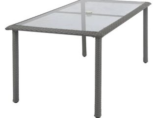 Incomplete  Table Top Only  Cosco lakewood Ranch Steel Wicker  amp  Tempered Glass Patio Dining Table   Gray