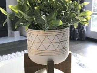 Artificial Tea Plant in GEO Ceramic Footed Pot 12  H