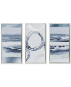 Madison Park Grey Surrounding Printed Frame Canvas with Gel Coat and Silver Foil 3 Piece Set  Retail 99 98