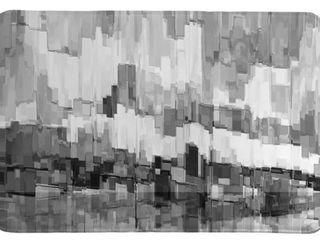 laura Home Monocromatic Brushstrokes Memory Foam Rug 21  x 34
