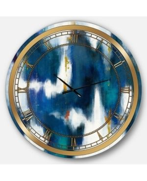 Designart  Blue Glam Texture II  Glam large Wall Clock Minor Scratches and Bent on the Side  Retail 148 49