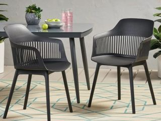 Dahlia Outdoor Modern Dining Chair Set of 2 by Christopher Knight
