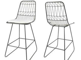 Walcott Modern 26  Seats Geometric Counter Stools  Set of 2  by Christopher Knight Home   Retail 155 28  Missing Nuts