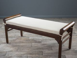 Nelson Rustic Acacia Wood Bench with Cushion by Christopher Knight Home  Retail 121 76