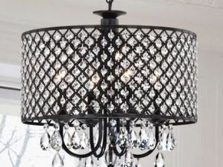 Pluto Crystal 4 light Dimmable Drum Chandelier