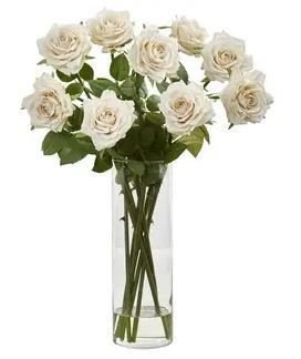 Nearly Natural White Rose Artificial Arrangement in Glass Cylinder Vase  Retail  61 45