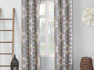 95 x40  Nepal Global Print Blackout Grommet Curtain Panel Pair linen   Sun Zero