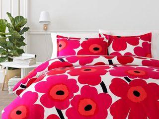 Marimekko Unikko Comforter   Sham Set  Size King   Red