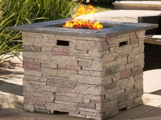 Hookah 32 inch Outdoor Square liquid Propane Fire Pit with lava Rocks  by Christopher Knight  Minor Chips  Retail  568 99