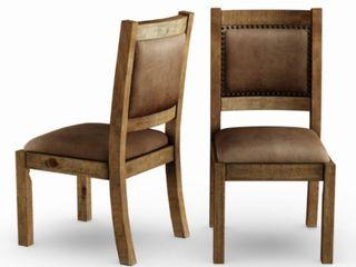 Furniture of America Matthias Pine Upholstered Dining Chair  Set of 2  Retail 632 99