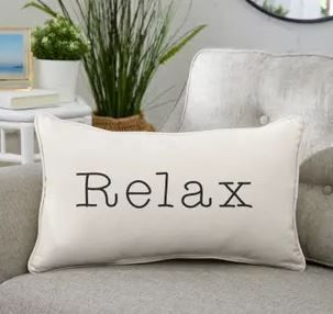Sunbrella Indoor Outdoor Single Embroidery Pillows  Relax   Set of 2  13 x20