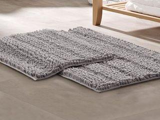 Amrapur 2 Piece Chenille Noodle Mat Bath Set   Gray
