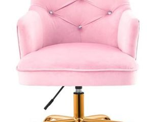 OVIOS Desk Chair Plush Pink Velvet Office Chair with Gold Base  Retail 261 49