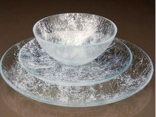 Damla Clear Dinnerware Set  Partial Set  3 Bowls  4 Plates