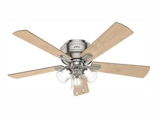 Hunter 52  Crestfield Brushed Nickel Ceiling Fan with light Kit and Pull Chain