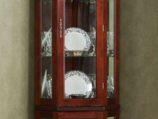 McCoy Mahogany lighted Display Corner Curio Cabinet  Retail 409 49