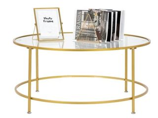 Modern 36  2 layers 5mm Glass Top Round Coffee Table Golden  Retail 104 49