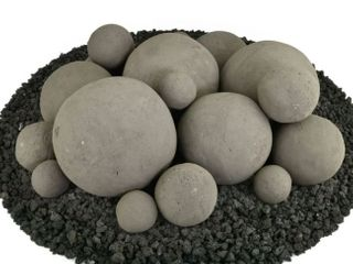 Charcoal Grey Speckled Mixed 18 Piece Set Of Ceramic Fire Balls