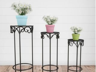 Plant Stands  Nesting Wrought Iron Metal Round Decorative Potted Plant Accent Display by Pure Garden   Set of 3  Retail 84 49