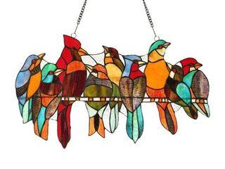 Chloe Tiffany style Stained Glass Bird Window Panel  Retail 123 99