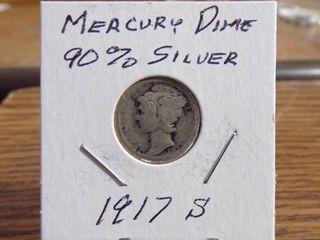 1917 S MERCURY DIME 90  SIlVER VG