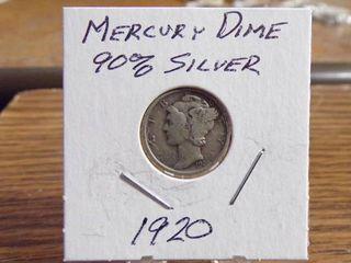 1920 MERCURY DIME 90  SIlVER VF