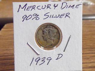 1939 D MERCURY DIME 90  SIlVER VF