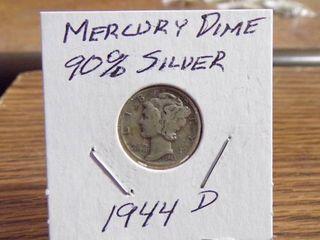 1944 D MERCURY DIME 90  SIlVER F