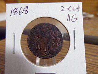 1868 2 CENT PIECE AG