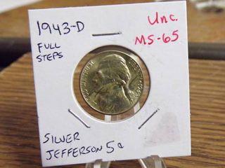 1943 D SIlVER JEFFERSON NICKEl UNC MS65 FUll STEPS