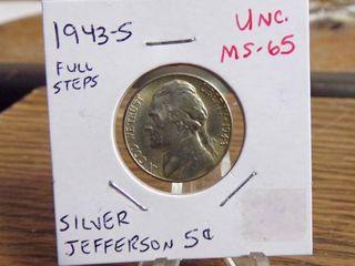 1943 S SIlVER JEFFERSON NICKEl UNC MS65 FUll STEPS