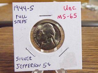 1944 S SIlVER JEFFERSON NICKEl UNC MS65 FUll STEPS