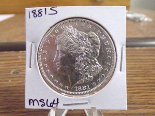 1881 S MORGAN DOllAR MS64
