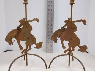Metal cowboy candle stands