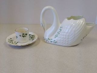 Royal Tara Fine Bone China Ireland Swan and Duchess Bone China saucer and small Carrgdhoun pottery cup
