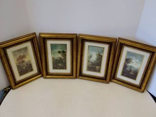 4 castle prints in frames