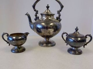 Crosby Silver on Copper tea coffee pot with creamer and sugar bowl