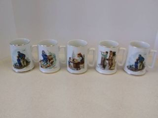 lot of Norman Rockwell Coffee Cups 4 inches tall
